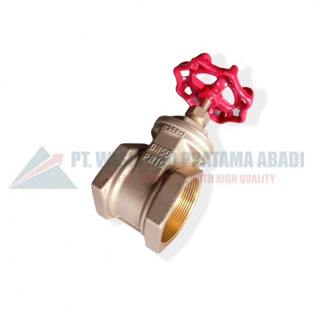 Brass gate valve DN50 atau katup kuningan adalah sebuah perangkat yang terpasang pada sistem perpipaan, yang berfungsi untuk mengatur laju aliran