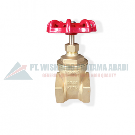 Brass gate valve DN40Jenis ini didesain untuk membuka dan menutup aliran dengan cara tertutup rapat dan terbuka penuh yang terpasang pada sistem perpipaan